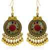 Ethnic Vintage Fusion oxidised Gold Dangle Earrings - Yellow Chimes