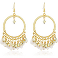 Ethnic Fusion Resin Leather White Chandbali Earring - Yellow Chimes