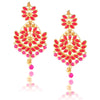Gold Toned Pink Pearl Kundan Chandbali Earrings - Yellow Chimes