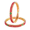 Traditional Gold Toned Ruby Stones 2 PC Bangle Set - Yellow Chimes