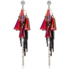Designer Fashion Gold Toned Crystal Tassels Earrings - Yellow Chimes