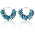 Traditional Gold Toned Blue Beads Hoops Earrings - Yellow Chimes
