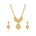 Traditional Gold Toned Moti Pearl Necklace Set - Yellow Chimes