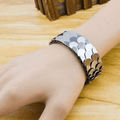 Fish Scale Design Silver Toned Cuff Bracelet - Yellow Chimes