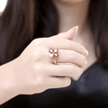 Rose Gold Toned Multicolour Swiss Zircon Crystal Ring - Yellow Chimes
