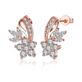 A5 Grade Crystal Rose gold Toned Curvaceous Stud Earring - Yellow Chimes