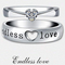 Stainless steel Endless Love Heart Crystal Couple Ring - Yellow Chimes
