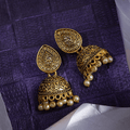 Traditional Gold Toned Designer Temple Jhumka Earrings - Yellow Chimes