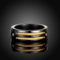 Screwed Cable Black Gun Plated Stainless Steel Ring - Yellow Chimes