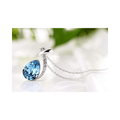 Silver Toned Swarovski Blue Drop Crystal Pendant - Yellow Chimes