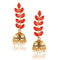 Traditional Gold Toned Pearl Kundan Jhumka Earrings - Yellow Chimes