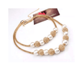 Dual Layer Pearl Designer Gold Toned Choker Necklace - Yellow Chimes