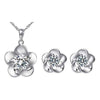 Floral Design Silver Toned Crystal Pendant Set - Yellow Chimes
