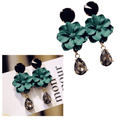 Gold Toned Vintage Bohemia Green Flower Crystal Earrings - Yellow Chimes