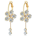Gold Toned A5 Grade Floral Crystal Drop Earrings - Yellow Chimes