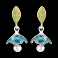 925 Sterling Silver Meenakari Jhumki Earrings - Yellow Chimes