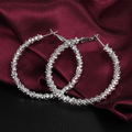 Silver Toned Classic Design Big Circle Hoop Earrings - Yellow Chimes