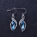 Silver Toned Swarovski Denim Blue Crystal Earrings - Yellow Chimes