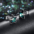 Swarovski Crystal Designer Blue Star Stud Earrings - Yellow Chimes