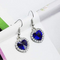 Titanic Blue Ocean Heart Silver Toned Drop Earrings - Yellow Chimes