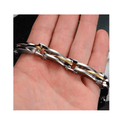 Stainless Steel Black Silver Metal Bracelet - Yellow Chimes