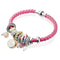 Silver Toned Love Charm Pink Leather Bracelet - Yellow Chimes