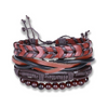Retro Cowhide Woven Wrap Natural Beads Leather Bracelet