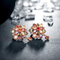 Dual Flower Rose Gold Toned Swiss Zircon Drop Earrings - Yellow Chimes