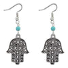 oxidised Silver Stylish Hamsa Hand Drop Earrings - Yellow Chimes