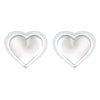 925 Sterling Silver Opal Heart Studs Earrings - Yellow Chimes