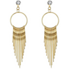 Gold Toned Strings Chandelier Earrings - Yellow Chimes