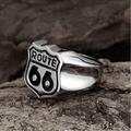 Stainless steel Famous 'Route 66' Symbol Bikers Ring - Yellow Chimes