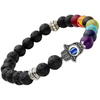 Divine Collection7 Chakra Evil Eye Lava Stone Bracelet - Yellow Chimes
