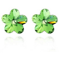 Silver Toned Swarovski Crystal Flower Stud Earrings - Yellow Chimes