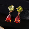 Floral Drop Gold Toned Cubic Zirconia Crystal Earrings - Yellow Chimes