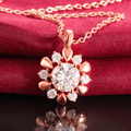 Sunflower Rose Gold Toned Austrian Crystal pendant Set - Yellow Chimes