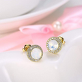 Gold Toned Swarovski Moonlight Crystal Stud Earrings - Yellow Chimes