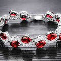 High Grade Silver Toned CZ Red Wave Designer Bracelet - Yellow Chimes