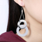 Dual Testured Circles Alloy Chandelier Earring - Yellow Chimes