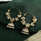 Traditional Golden Beads Pearl Hoops Jhumka Earrings - Yellow Chimes
