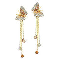 Gold Toned Butterfly Strings CZ Crystal Drop Earrings - Yellow Chimes