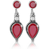 925 Sterling Silver  Ruby Quartz Drop Earrings - Yellow Chimes