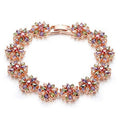 Rose Gold Toned Multicolour Cubic Zircon Chain Bracelet - Yellow Chimes