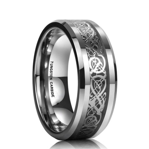 Celtic Dragon Stainless Steel Ring for Men - Yellow Chimes