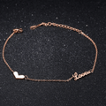 Western Style Rose Gold Toned Heart Designer Anklet - Yellow Chimes