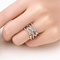 Diamond Cut Fashion  Silver Toned Crystal Ring - Yellow Chimes