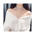 Silver Plated Double Layer Choker Necklace - Yellow Chimes