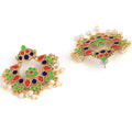 Meenakari Chandbali Designer Combo Earrings - Yellow Chimes