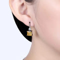 A5 Grade Yellow Crystal Black Gun Plated Drop Earrings - Yellow Chimes