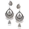 Traditional Silver oxidised Chandbali Jhumka Earrings - Yellow Chimes